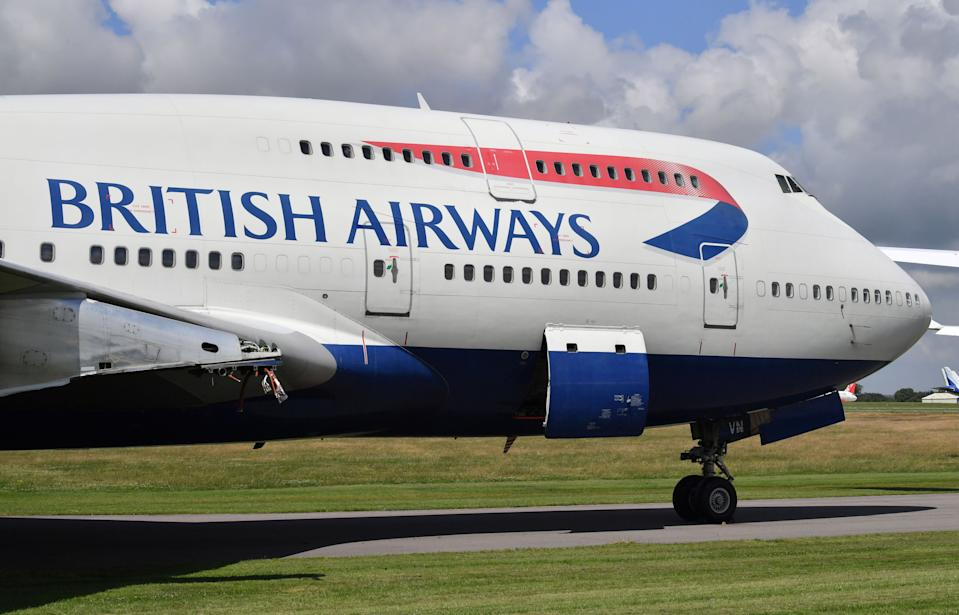 A British Airways Boeing 747 aircraft which first flew on the 18/09/1997, parked with its engines removed at Cotswold Airport, which is the home of Air Salvage international who dismantle end-of-life aircraft. The airline is to retire its fleet of Boeing 747s with immediate effect.