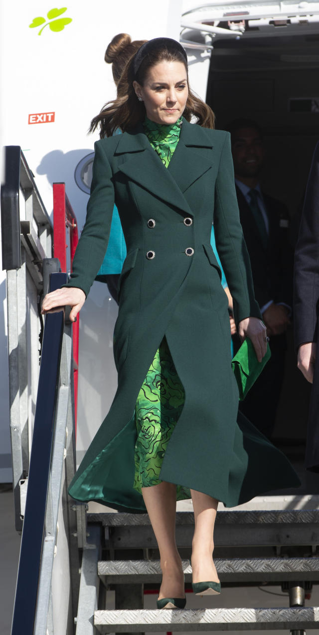 The Duchess of Cambridge wore an emerald green coat as she arrived for the tour. (Press Association)