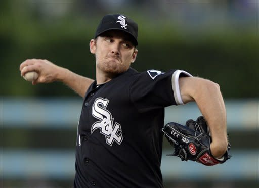 Chicago White Sox starting pitcher Philip Humber throws to the plate during the first inning of a baseball game against the Los Angeles Dodgers, Saturday, June 16, 2012, in Los Angeles. (AP Photo/Mark J. Terrill)
