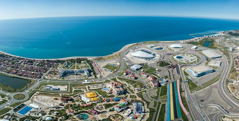 """<span class=""""caption"""">A panoramic shot of the Olympic Park in Sochi, Russia, which was the venue for the 2014 Olympics and the 2018 FIFA World Cup.</span> <span class=""""attribution""""><span class=""""source"""">(Shutterstock)</span></span>"""