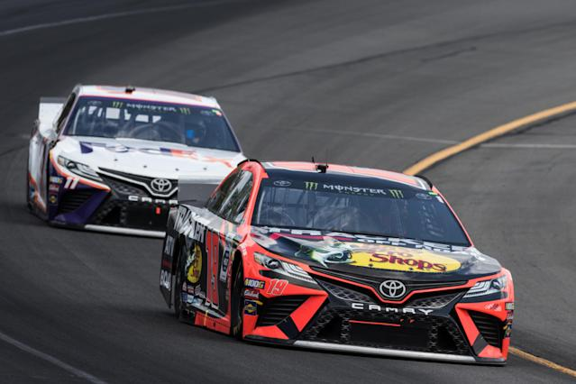 "Martin Truex Jr. was second on Sunday while <a class=""link rapid-noclick-resp"" href=""/nascar/sprint/drivers/1283/"" data-ylk=""slk:Denny Hamlin"">Denny Hamlin</a> was fifth. (Photo by David Hahn/Icon Sportswire via Getty Images)"