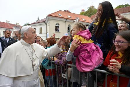 Pope Francis greets faithful in Vilnius, Lithuania, September 22, 2018. Vatican Media/ Handout via REUTERS