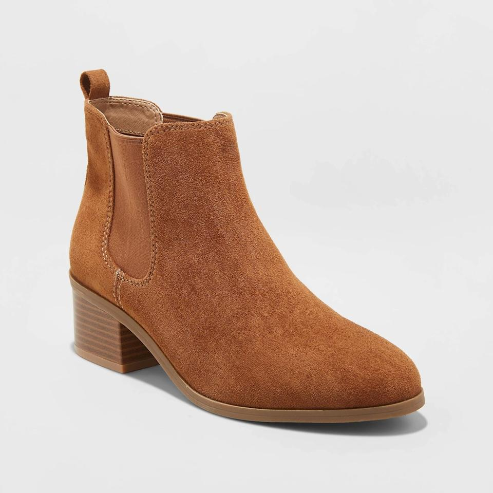 """<p>These <a href=""""https://www.popsugar.com/buy/New-Day-Women-Ellie-Chelsea-Booties-498496?p_name=A%20New%20Day%20Women%27s%20Ellie%20Chelsea%20Booties&retailer=target.com&pid=498496&price=30&evar1=fab%3Aus&evar9=46721262&evar98=https%3A%2F%2Fwww.popsugar.com%2Ffashion%2Fphoto-gallery%2F46721262%2Fimage%2F46721455%2FNew-Day-Women-Ellie-Chelsea-Booties&list1=shopping%2Cfall%20fashion%2Ctarget%2Cshoes%2Cfall%2Cfall%20shoes%2Caffordable%20shopping&prop13=api&pdata=1"""" rel=""""nofollow"""" data-shoppable-link=""""1"""" target=""""_blank"""" class=""""ga-track"""" data-ga-category=""""Related"""" data-ga-label=""""https://www.target.com/p/women-s-ellie-chelsea-bootie-a-new-day/-/A-76628331?preselect=54419650#lnk=sametab"""" data-ga-action=""""In-Line Links"""">A New Day Women's Ellie Chelsea Booties</a> ($30) will be easy to pair with any Fall outfit.</p>"""