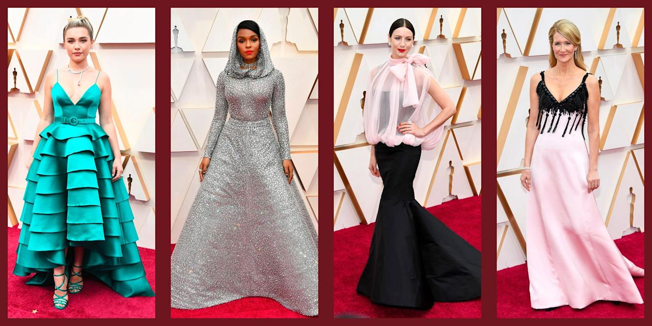 """<p>After a whirlwind kick-off with the <a href=""""https://www.townandcountrymag.com/style/fashion-trends/g30390398/best-golden-globes-dresses-2020/"""" target=""""_blank"""">Golden Globes in early January</a>, awards season is ending (for a hot minute) with the ultimate in glittery Hollywood ceremonies: the Oscars. And as such, screen sirens and leading hunks, have gathered at the Dolby Center in Hollywood, Los Angeles for the 92nd Academy Awards, presented by the Academy of Motion Picture Arts and Sciences. As the annual ceremony is honoring the best and brightest—and most critically acclaimed moments from movies over the past year, it is only fitting that the A-list, such as Laura Dern and Caitriona Balfe have turned out their most fashionable and avant-garde stylings for the evening. </p><p>It was a red carpet filled with classical ballgowns, architectural embellishments, and lots of feminine bows. See the best dresses and gowns from the Oscars 2020 here.</p>"""
