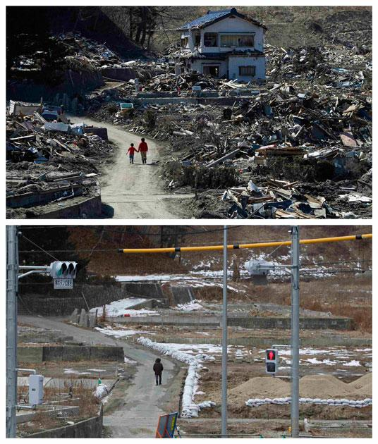 A combination photograph shows the same location in Miyako, Iwate prefecture, northeastern Japan on two different dates, April 5, 2011 (top) and February 17, 2012 (bottom). The top photograph shows people walking in an area damaged by the magnitude 9.0 earthquake and tsunami, the bottom photograph shows the same location almost a year later.  REUTERS/Toru Hanai