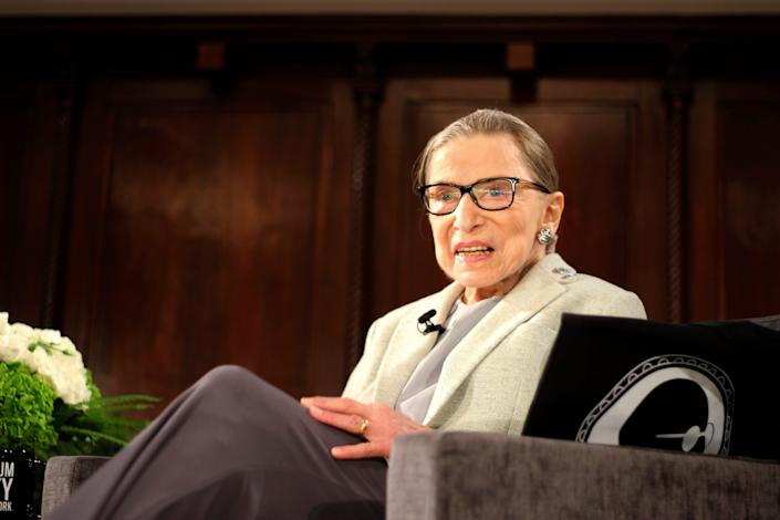 U.S. Supreme Court Justice Ruth Bader Ginsburg sits onstage as the third speaker of the David Berg Distinguished Speakers Series, at the Museum of the City of New York Saturday, Dec. 15, 2018, in New York.