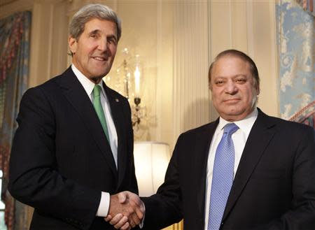 U.S. Secretary of State John Kerry shakes hands with Pakistan's Prime Minister Nawaz Sharif before their meeting in Washington