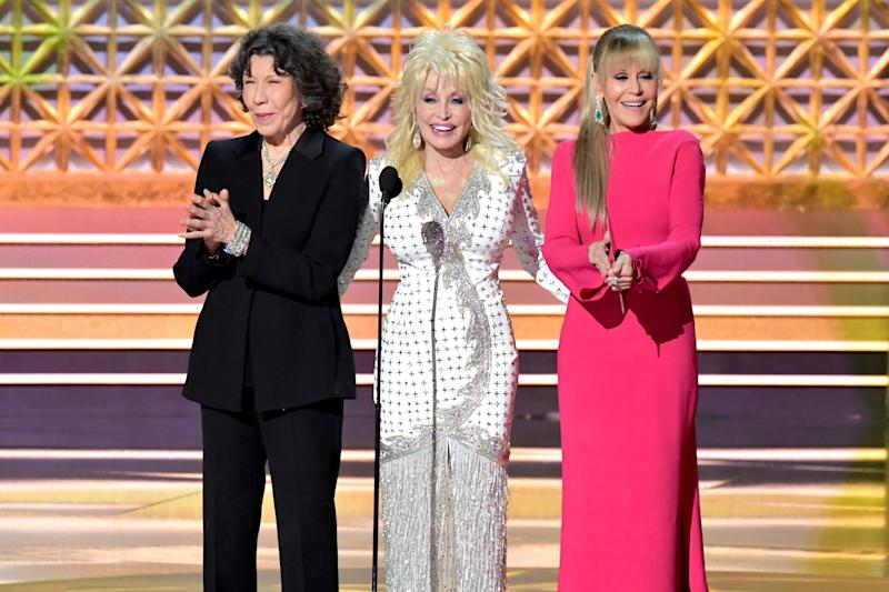 Actors Lily Tomlin, Dolly Parton, and Jane Fonda speak onstage during the 69th Annual Primetime Emmy Awards at Microsoft Theater on Sept. 17, 2017 in Los Angeles, California.