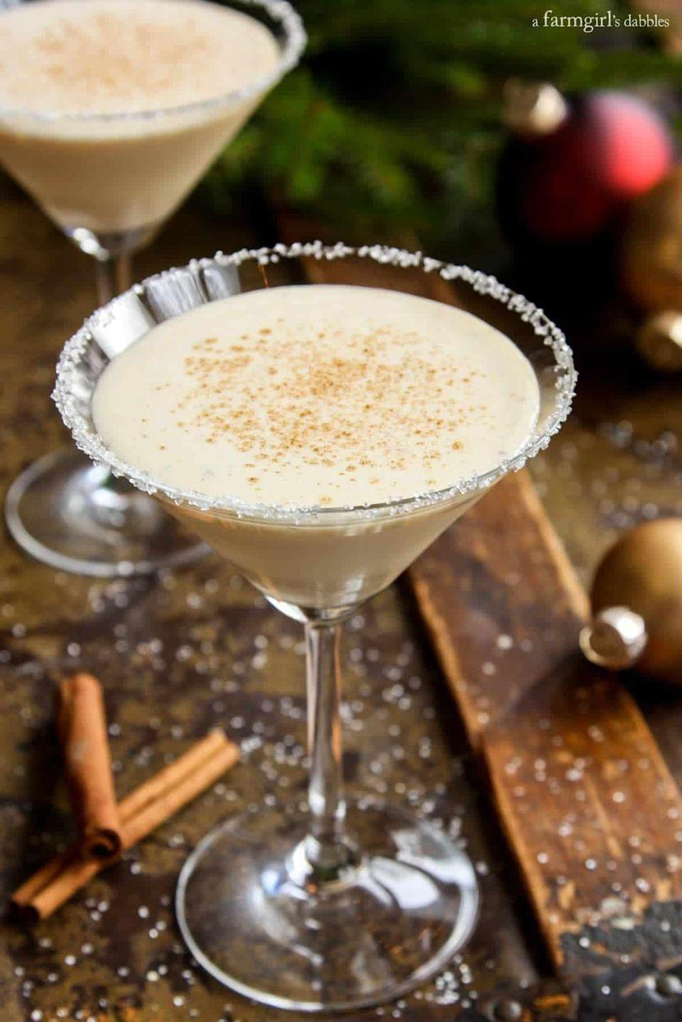 "<p>If you love the flavor of eggnog, but find a whole glass of it a little overwhelming, this cleaner, spicy chilled cocktail is just the thing.</p><p><strong>Get the recipe at <a href=""https://www.afarmgirlsdabbles.com/angelas-eggnog-cocktail-recipe/"" rel=""nofollow noopener"" target=""_blank"" data-ylk=""slk:A Farmgirl's Dabbles"" class=""link rapid-noclick-resp"">A Farmgirl's Dabbles</a>.</strong></p>"