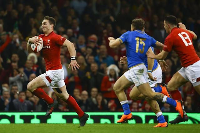 Wales' wing George North has been punished for skipping taining with Sale (AFP Photo/Geoff CADDICK)