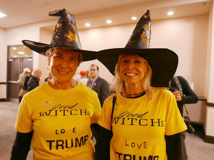 """Cynthia Lane, right, and her friend Joyce at a """"Halloween Witch Hunt Party"""" hosted by the Trump campaign in Manheim, Pa., on Wednesday night. (Photo: Hunter Walker/Yahoo News)"""