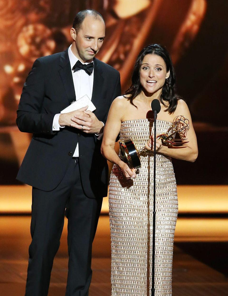 <p>When Julia Louis-Dreyfus won Best Actress in a Comedy for her role in <em>Veep</em>, she walked up to the stage with Tony Hale behind her for a <em>Veep</em> bit that every fan appreciated. Hale stood behind Louis-Dreyfus to remind her to thank her family—and when she didn't thank him as part of the cast, it was the perfect touch. </p>