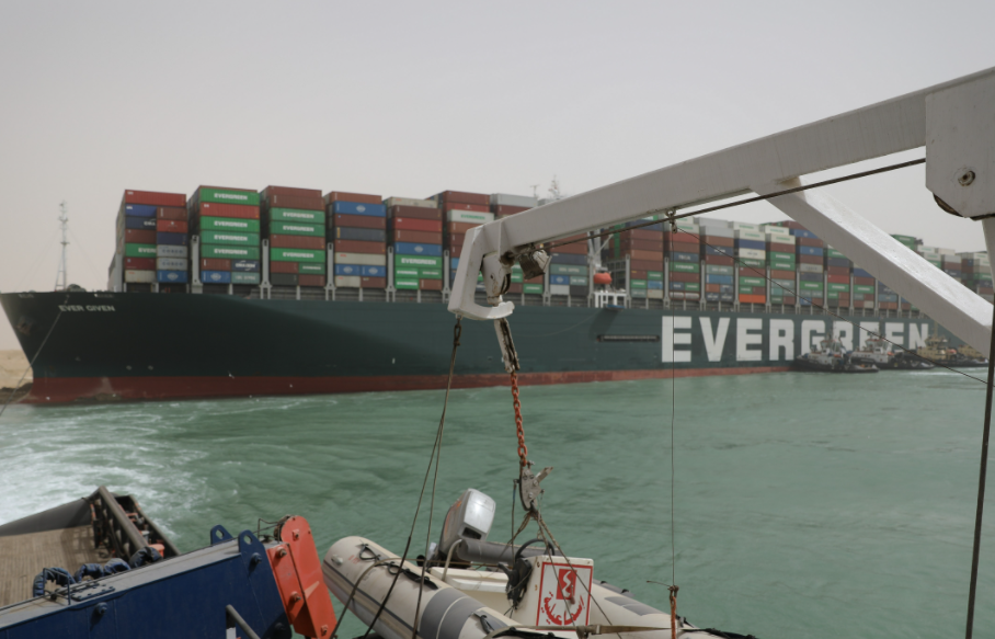 Ever Given, the 400 metres long and 59 metres wide ship, above, is stuck in the Suez Canal. It is chartered by Evergreen Marine, a Taiwan-based shipping company. Photo: Suez Canal Authority