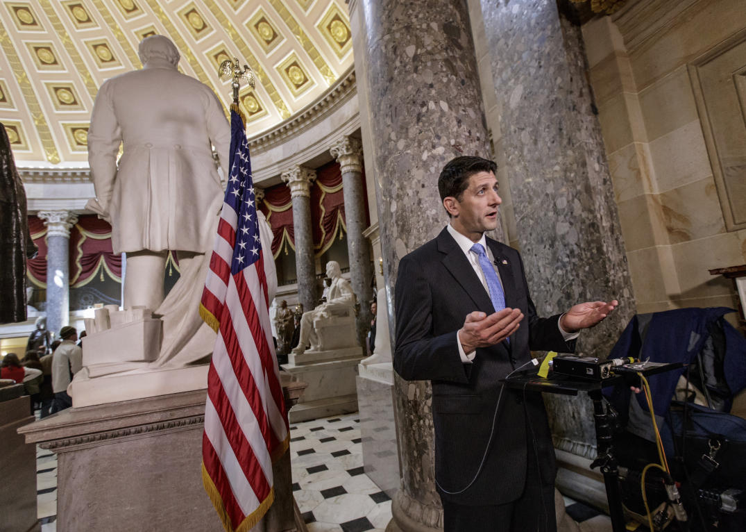 House Speaker Paul Ryan of Wis. speaks in support of the Republican health care bill during a TV interview in Statuary Hall on Capitol Hill in Washington, Wednesday, March 22, 2017. (AP Photo/J. Scott Applewhite)