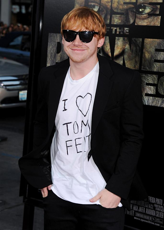 """<a href=""""http://movies.yahoo.com/movie/contributor/1802866082"""">Rupert Grint</a> at the Los Angeles premiere of <a href=""""http://movies.yahoo.com/movie/1810204226/info"""">Rise of the Planet of the Apes</a> on July 28, 2011."""