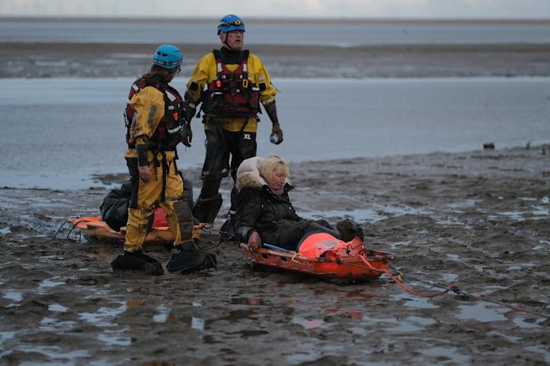 The couple spent 40 minutes in the mud before they were rescued (Picture: MEN)
