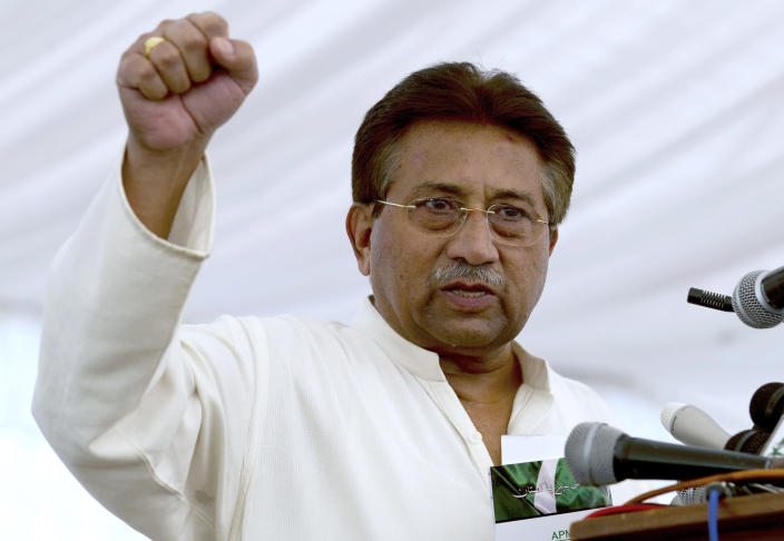 FILE - In this Monday, April 15, 2013 file photo, Pakistan's former President and military ruler Pervez Musharraf addresses his party supporters at his house in Islamabad, Pakistan. On Monday, Jan. 13, 2020, a Pakistani court, overturned the death sentence given to the country's ailing former dictator, saying a special court that last month convicted and sentenced Musharraf had been formed in violation of the law. (AP Photo/B.K. Bangash, File)