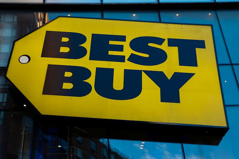 NEW YORK, NY - FEBRUARY 25: Best Buy logo is pictured on February 25, 2019 in New York City. Best Buy could see robust growth in Q4, the market expects $2.57 in earnings per share on revenue of about $14.7 billion. (Photo by Eduardo Munoz Alvarez/VIEWpress/Corbis via Getty Images)
