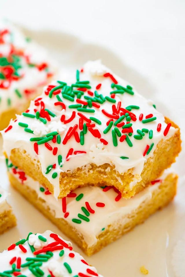 """<p>A box of Krusteaz snickerdoodle cookie mix paired paired with cream cheese frosting makes these <a href=""""http://www.averiecooks.com/snickerdoodle-bars-with-cream-cheese-frosting/"""" target=""""_blank"""" class=""""ga-track"""" data-ga-category=""""Related"""" data-ga-label=""""http://www.averiecooks.com/snickerdoodle-bars-with-cream-cheese-frosting/"""" data-ga-action=""""In-Line Links"""">snickerdoodle bars with cream cheese frosting</a> taste completely homemade. A great recipe for beginners. </p>"""