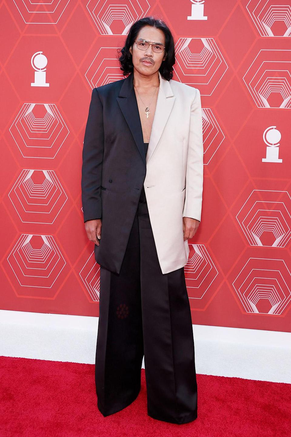 <p>Tony award winner Clint Ramos — nominated again this year for best costume design for <em>The Rose Tattoo </em>and best scenic design of a play for <em>Slave Play — </em>arrives in a two-tone suit. </p>