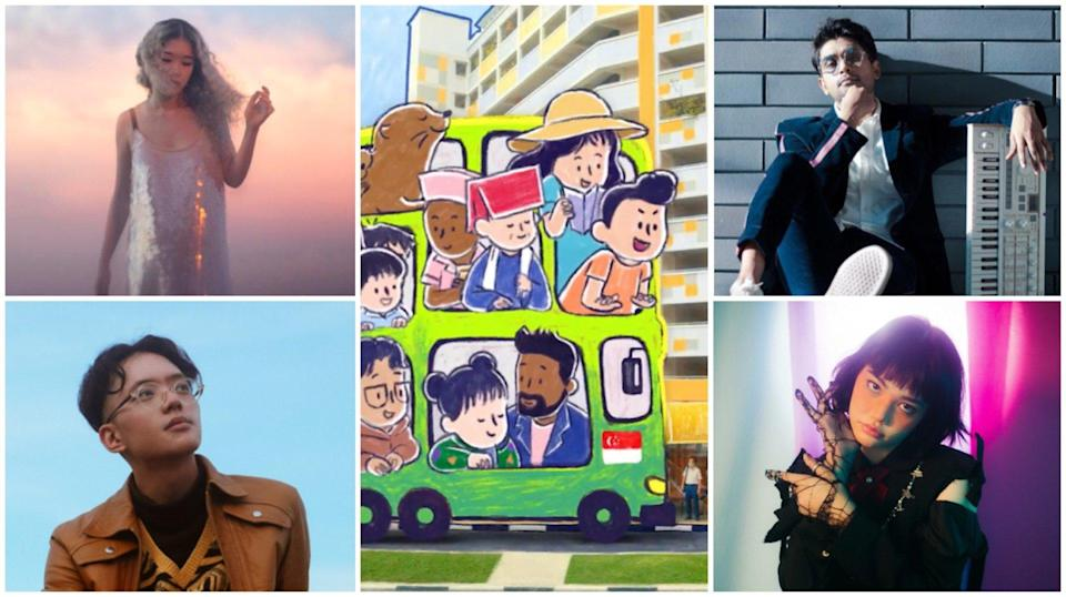 (Clockwise from top left) Linying, Shabir, Shye and Sezairi's vocals are accompanied by a music video that blends live-action and animation.