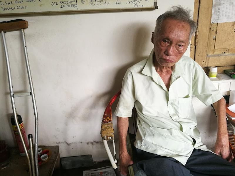 Former leprosy patient and vice-president of the Sungai Buloh Settlement Council, Lee Chor Seng, at his home in the settlement August 14, 2019. — Picture by Soo Wern Jun