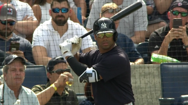 Russell Wilson sets up for his first spring training at-bat with the New York Yankees. (MLB.TV)