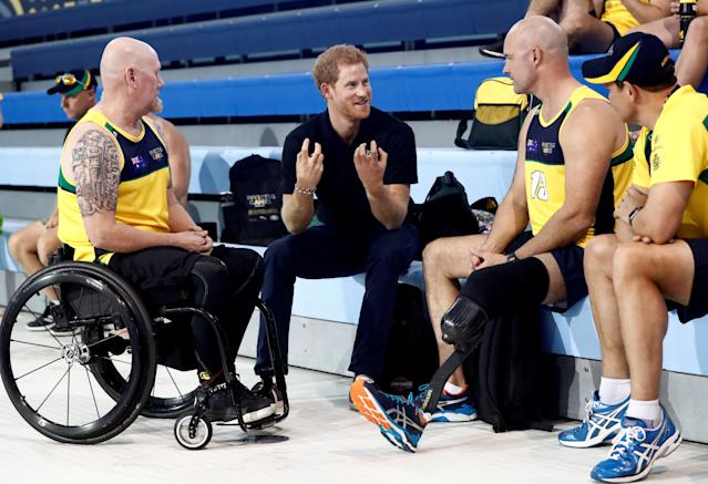 Prince Harry speaks to athletes on Sept. 22 ahead of the 2017 Invictus Games in Toronto. (Mark Blinch / Reuters)