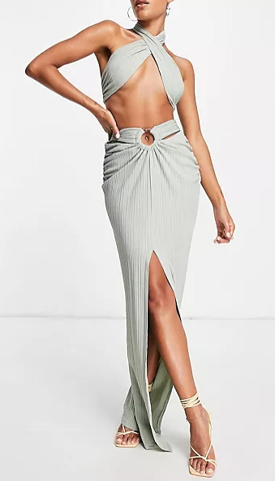 ASOS LUXE co-ord textured drape skirt with tortoiseshell ring in mint, $40