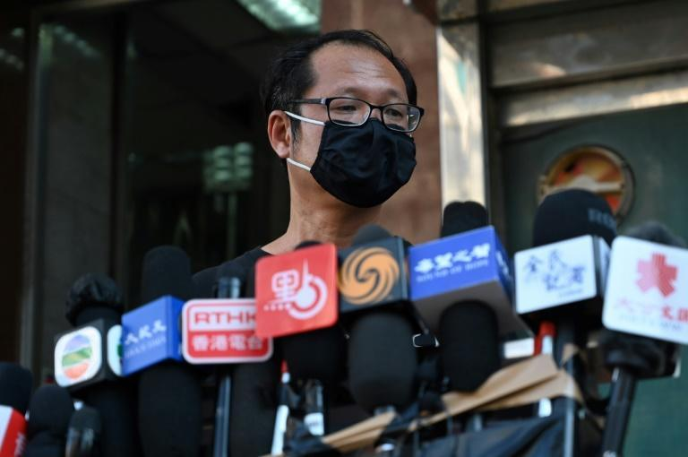 Richard Tsoi of the Hong Kong Alliance discusses the disbanding of the pro-democracy group that organised annual Tiananmen vigils (AFP/Peter PARKS)