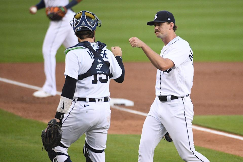 Tigers pitcher Tyler Alexander and catcher Eric Haase meet during the first inning against the Rays on Friday, Sept. 10, 2021, at Comerica Park.