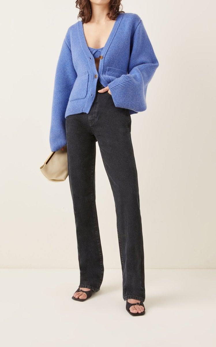 <p>The iconic <span>Khaite Scarlet Cashmere Knit Cardigan</span> ($1,540) is back this season in, you guessed it, a mid-toned blue. Of course, it comes with the matching <span>Eda Cashmere Bra Top</span> ($520).</p>