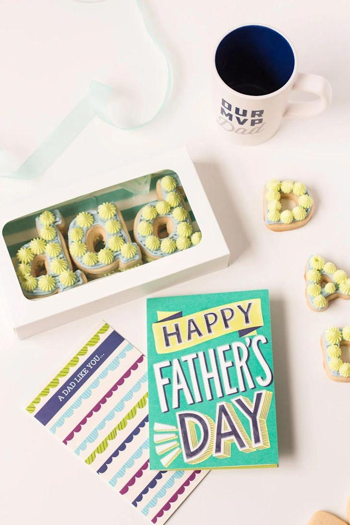 """<p>Maybe you're far from Dad this Father's Day. In that case, send a care package across the miles with some homemade sugar cookies and a thoughtful card. </p><p><strong>Get the tutorial at <a href=""""https://www.jamiekamber.com/fathers-day-cookie-care-package/"""" rel=""""nofollow noopener"""" target=""""_blank"""" data-ylk=""""slk:Jamie Kamber"""" class=""""link rapid-noclick-resp"""">Jamie Kamber</a>.</strong></p><p><a class=""""link rapid-noclick-resp"""" href=""""https://go.redirectingat.com?id=74968X1596630&url=https%3A%2F%2Fwww.walmart.com%2Fsearch%2F%3Fquery%3Dtreat%2Bboxes&sref=https%3A%2F%2Fwww.thepioneerwoman.com%2Fholidays-celebrations%2Fg36333267%2Ffathers-day-activities%2F"""" rel=""""nofollow noopener"""" target=""""_blank"""" data-ylk=""""slk:SHOP TREAT BOXES"""">SHOP TREAT BOXES</a></p>"""