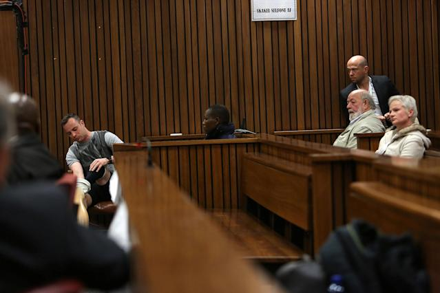 Paralympic gold medalist Oscar Pistorius sits in the dock during the third day of his resentencing hearing for the 2013 murder of his girlfriend Reeva Steenkamp in the North Gauteng High Court in Pretoria, South Africa June 15, 2016. REUTERS/Alon Skuy/Pool