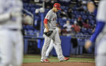 Los Angeles Angels starter Jose Quintana walks back to the mound after giving up a bases-loaded walk to Toronto Blue Jays' Vladimir Guerrero Jr. during the second inning of a baseball game Saturday, April 10, 2021, in Dunedin, Fla. (AP Photo/Steve Nesius)