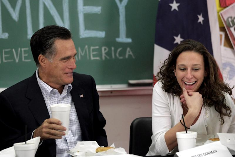 Republican presidential candidate, former Massachusetts Gov. Mitt Romney talks to student Kelsey Gorman during a roundtable discussion at Otterbein University in Westerville, Ohio, Friday, April 27, 2012. (AP Photo/Jae C. Hong)