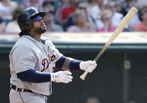 Detroit Tigers' Prince Fielder watches his ball after hitting a solo home run off Cleveland Indians starting pitcher Carlos Carrasco in the third inning of a baseball game, Saturday, July 6, 2013, in Cleveland. (AP Photo/Tony Dejak)