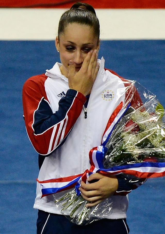 SAN JOSE, CA - JULY 01: Jordyn Wieber reacts after being named to the US Gymnastics team going to the 2012 London Olympics at HP Pavilion on July 1, 2012 in San Jose, California. (Photo by Ronald Martinez/Getty Images)