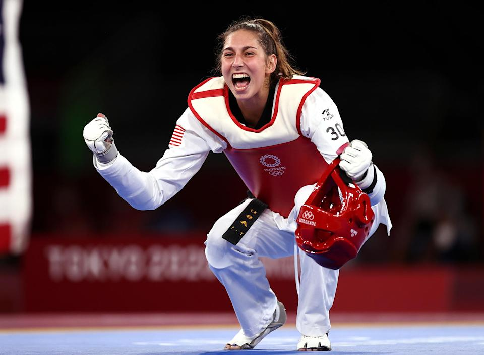 <p>USA's Anastasija Zolotic became the first American woman to win gold in taekwondo after defeating Team ROC's Tatiana Minina at Makuhari Messe Hall on July 25.</p>
