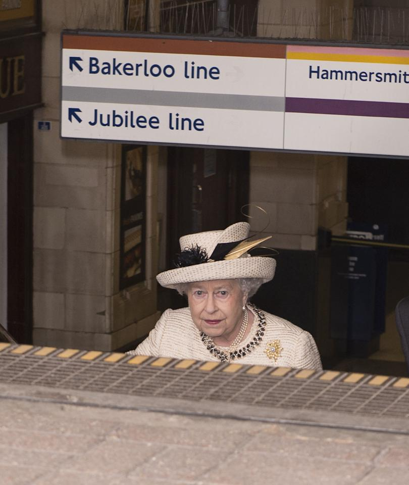LONDON, ENGLAND - MARCH 20: Queen Elizabeth II leaving after an official visit to Baker Street Underground Station on March 20, 2013 in London, England. (Photo by Mark Cuthbert/UK Press via Getty Images)