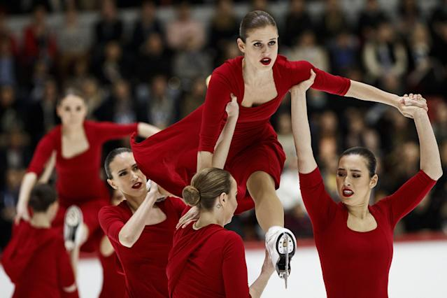ISU World Synchronized Skating Championships 2019 - Free Skating - Helsinki, Finland - April 13, 2019. Team Nexxice from Canada performs. Lehtikuva/Roni Rekomaa via REUTERS ATTENTION EDITORS - THIS IMAGE WAS PROVIDED BY A THIRD PARTY. NO THIRD PARTY SALES. NOT FOR USE BY REUTERS THIRD PARTY DISTRIBUTORS. FINLAND OUT. NO COMMERCIAL OR EDITORIAL SALES IN FINLAND.