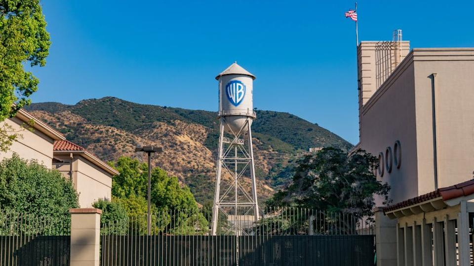 water tower with Warner Bros logo