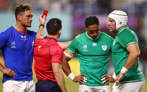 Referee Nic Berry shows Bundee Aki of Ireland a red card during the Rugby World Cup 2019 Group A game between Ireland and Samoa at Fukuoka Hakatanomori Stadium on October 12, 2019 in Fukuoka, Japan - Credit: Getty Images