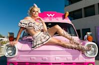 <p>Drag superstar Courtney Act posed on top of the Witty & Whippy ice cream truck for W Hotels in Sydney, Australia.</p>