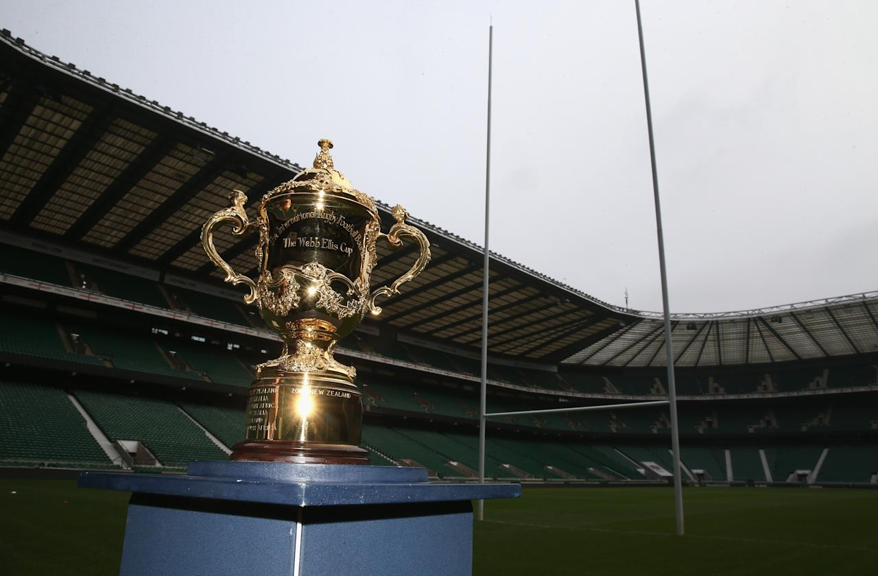 LONDON, ENGLAND - NOVEMBER 27: The Webb Ellis Cup pitchside at Twickenham Stadium during the England 2015 Rugby World Cup Ticketing and Times launch on November 27, 2013 in London, England. (Photo by David Rogers/Getty Images)