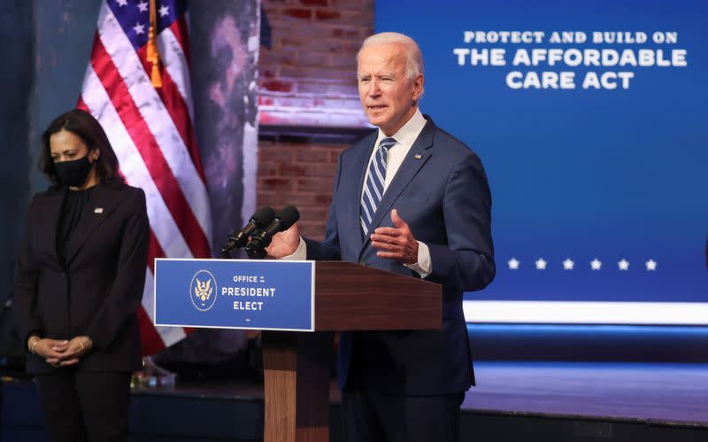 U.S. President-elect Biden and Vice President-elect Harris speak about health care plan in Wilmington, Delaware