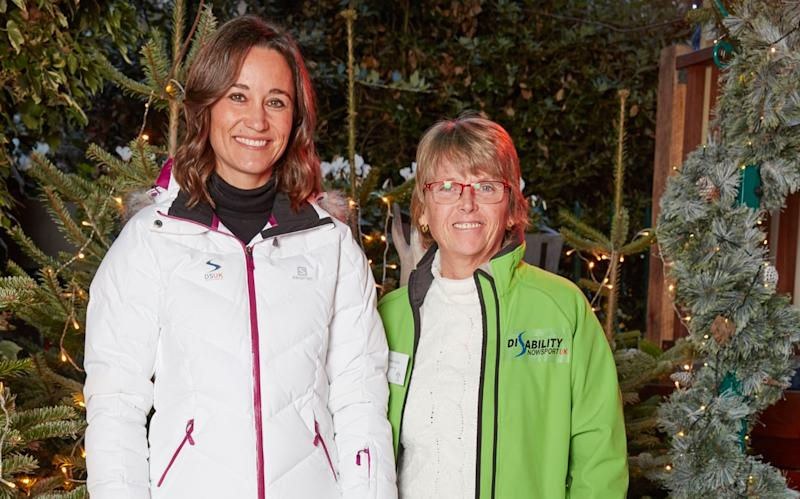 Pippa Middleton with Fiona Young, the CEO of Disability Snowsport UK - Les Wilson