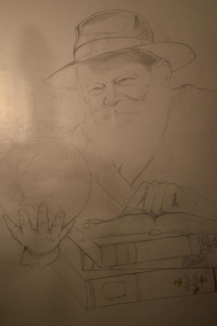 In this photo taken on Tuesday, Dec. 4, 2012, a painting of Rabbi Menachem Mendel Schneerson adorns the wall in the Cain and Abel School for Prophets in Tel Aviv, Israel. Instead of long beards and robes, they wear track suits and T-shirts. Their tablets are electronic, not hewn of stone, and they hold smartphones, not staffs. They may not look the part, but this ragtag group of Israelis is training to become the next generation of prophets. For just 200 shekels ($53) and in only 40 short classes, anyone can become a certified, modern-day soothsayer at the Cain and Abel School for Prophets.(AP Photo/Ariel Schalit)