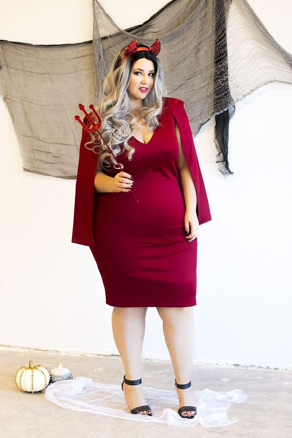 """<p>If you'd rather not buy a costume, channel your inner devil. All you need is a red outfit and a few inexpensive accessories. </p><p><a class=""""link rapid-noclick-resp"""" href=""""https://go.redirectingat.com?id=74968X1596630&url=https%3A%2F%2Fwww.eloquii.com%2Fflare-sleeve-scuba-dress%2F1244062.html%3Fdwvar_1244062_colorCode%3D23&sref=https%3A%2F%2Fwww.oprahmag.com%2Fstyle%2Fg28615520%2Fplus-size-halloween-costume-ideas%2F"""" rel=""""nofollow noopener"""" target=""""_blank"""" data-ylk=""""slk:SHOP THE DRESS"""">SHOP THE DRESS</a> <br></p><p><a class=""""link rapid-noclick-resp"""" href=""""https://www.amazon.com/Rubies-Costume-Unisex-Adults-Accessory-Multicolor/dp/B0027CA1S0/ref=sr_1_11?crid=1G4ALD0QX8D9F&keywords=devil+accessories+for+women&qid=1565269155&s=gateway&sprefix=devil+access%2Caps%2C130&sr=8-11&tag=syn-yahoo-20&ascsubtag=%5Bartid%7C10072.g.28615520%5Bsrc%7Cyahoo-us"""" rel=""""nofollow noopener"""" target=""""_blank"""" data-ylk=""""slk:SHOP THE ACCESSORIES"""">SHOP THE ACCESSORIES</a></p>"""