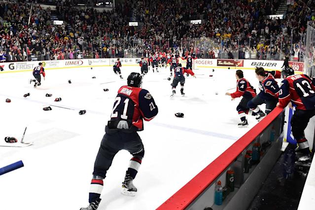 <p>It doesn't make up for the Stanley Cup, but a hockey team from Ontario did win a big game against a team from Pennsylvania as the Windsor Spitfires upset the Erie Otters in the Memorial Cup final. (Aaron Bell/CHL Images) </p>